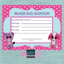 beanie boo adoption certificate 8 1 2 11 u0026 5 x7