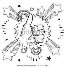 doodle sign up doodle style sketch thumbs sign pop stock vector 107354849