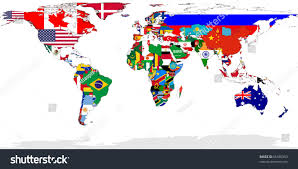 Flags In Map World Flags Relevant Countries Isolated Stock Illustration