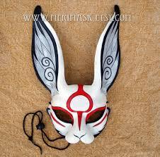 bunny mask japanese sumi e leather rabbit mask by merimask on deviantart