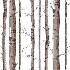 Wall Mural White Birch Trees Art Interior Pastoral Style Birch Tree Pattern Vinyl Wall Paper