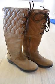s elsa ugg boots ugg s elsa deco quilt leather boots in chestnut size 7