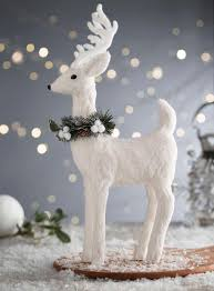 white snowy reindeer decoration decorations lights