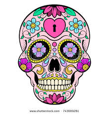 day dead colorful skull floral ornament stock vector 719935834