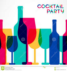 abstract colorful cocktail glass and wine bottle seamless backgr