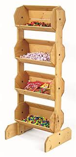 wood bulk display bin vertically stacked containers