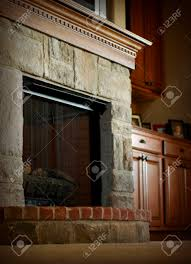 stone and brick fireplace home design