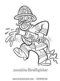 funny zombie firefighter coloring vector stock vector