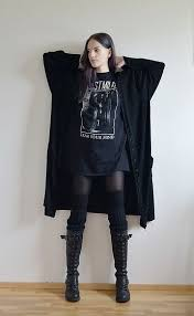 love the layered look love the boots very comfy goth clothes