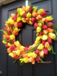 whimsical spring forsythia wreath jenna burger spring wreath for front door yellow red and orange tulip wreath