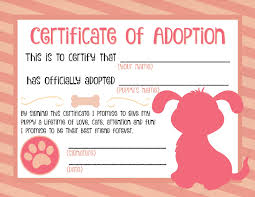 Pet Adoption Certificate Template puppy adoption certificate pinteres
