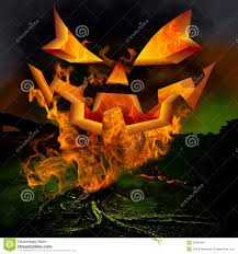 halloween pumpkin head jack lantern with burning candles over black background spooky scary laughing jack o lantern carved pumpkin face stock