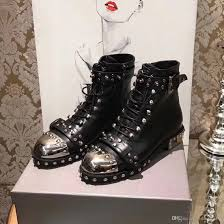 ladies leather biker boots 2017 brand cowboy boots womens leather rivets studs punk