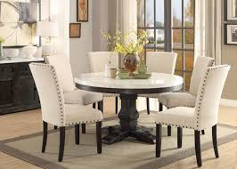 pedestal table with chairs acme 72845 white marble salvaged dark oak table set