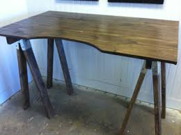 Natural Wood Furniture by Furniture Natural Wood Top Sawhorse Desk For Home Furniture Ideas