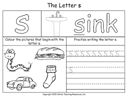 jolly phonics worksheets kindergarten review beginning sounds r s