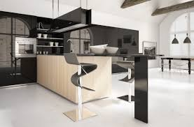 classy black and white kitchen with black cabinet set also primary