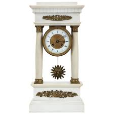 Mantel Clocks Antique French Charles X Alabaster Antique Portico Mantel Clock Circa