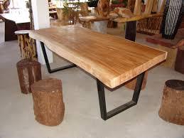 solid oak dining room furniture wood slab dining table for simple design