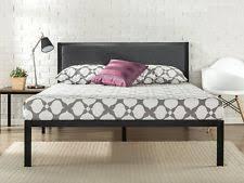 zinus 14 inch platform metal bed frame with upholstered headboard