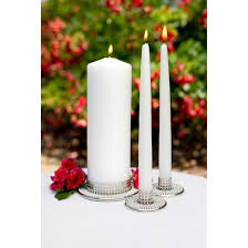 3pc wedding unity vintage pearl candle set hortense b hewitt
