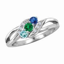 personalized rings for mothers s birthstone and diamond accent bypass split shank ring in
