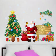 compare prices on christmas tree decals online shopping buy low large christmas wall stickers art decals christmas tree santa claus home living room decoration adesivos de natal party supplies