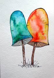 watercolor painting original art still life portobello mushroom