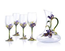 pewter design iris flower decorate wine glass set buy enamel