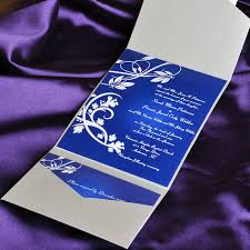 wedding invitation kits blue floral swirl damask with grey pocket affordable