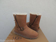 womens ugg blaise boots ugg australia leni womens buckle suede ankle boots chestnut