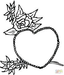 coloring pages hearts roses adults rose heart pictures