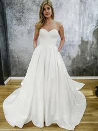 wedding dress with pockets buy a line sweetheart court satin wedding dress with pockets