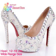 princess wedding shoes 12 16cm white pearl princess wedding shoes bridal high heels bling
