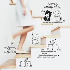 online get cheap wall stickers black couple cats aliexpress com funny black couple cat wall sticker kids room wallpaper diy lovely cartoon animal decals home bedroom