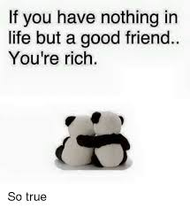 Good Friends Meme - if you have nothing in life but a good friend you re rich so true