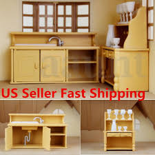 4 sets dollhouse miniature wood furniture dining room kitchen
