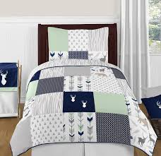 Twin Duvet Covers Boys Amazon Com Navy Blue Mint And Grey Woodsy Deer Boys 4 Piece Kids