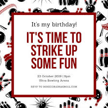 black and maroon bowling invitation templates by canva