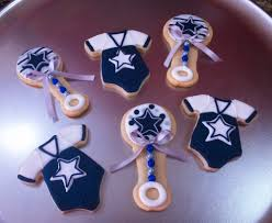 cowboy baby shower ideas dallas cowboys baby onesies rattle cookies baby shower
