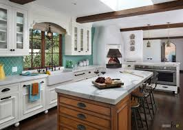 aqua colored patterned ceramic tile kitchen backsplash combined