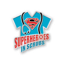 superheroes in scrubs lapel pin with presentation card positive