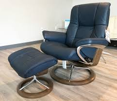 Leather Chair With Ottoman Stressless Mayfair Signature Walnut Wood Paloma Oxford Blue