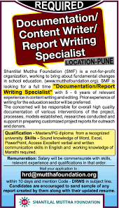 Sample Resume Format For Kpo Jobs by Job Report Writing Specialist Pune Office Administration