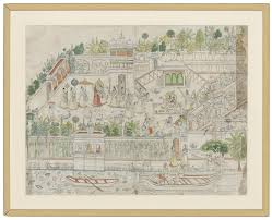 a large sketch of krishna and radha in a palace garden kota