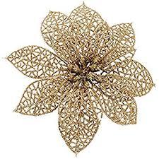pack of 10 glitter gold poinsettia