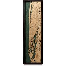 Naples Florida Map Naples Fl Wood Map 3d Nautical Topographic Chart Framed Art