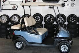 basic lowered light blue with beige club car golf cart 1