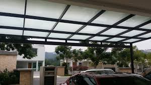 metal car porch glass roof