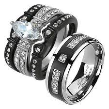 black wedding bands for and groom engagement wedding ring sets ebay